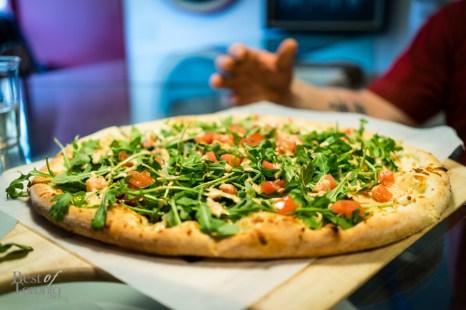 Smoked Tomato and Arugula Pizza