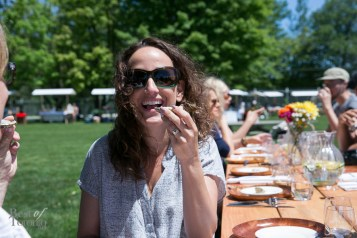 Mara Shapiro tasting an oyster for the first time. Exciting!