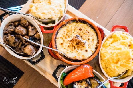 Mac & cheese, lobster mashed potatoes, potatoes au gratin, seasonal vegetables, sautéed mushrooms