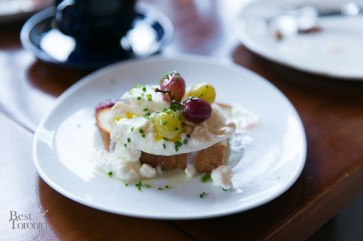 Fresh Ontario Burrata cheese with roasted grapes and toasted bread