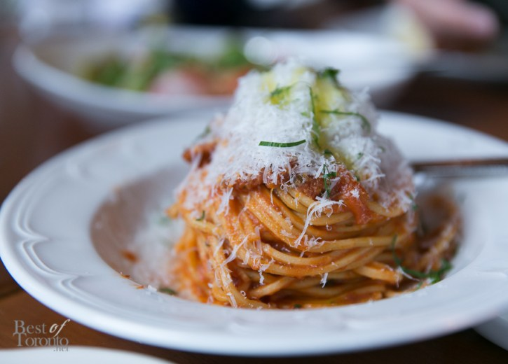 Spaghetti All Amatriciana with house cured guaniciale, tomato and pecorino