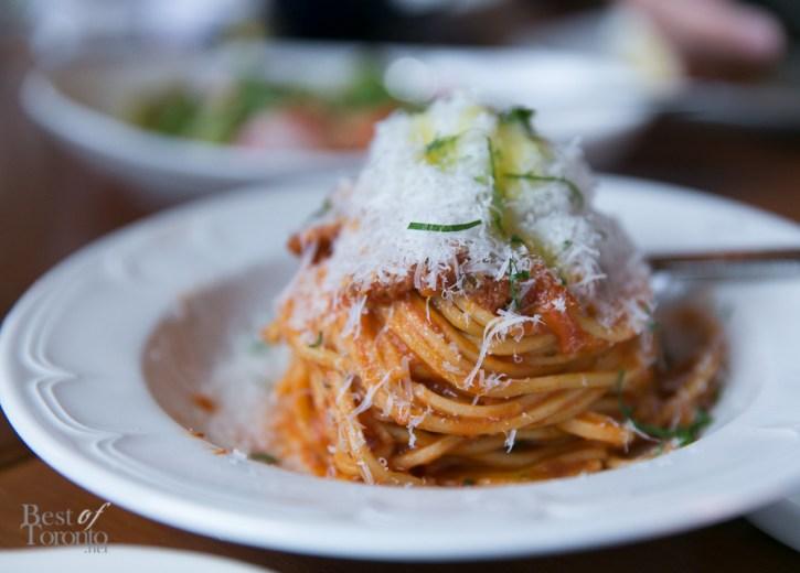 Spaghetti All Amatriciana with house cured guaniciale, tomato and pecorino