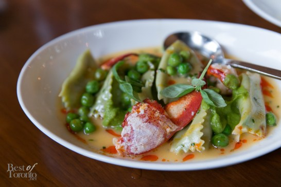 Lobster and Pea Agnolotti with Atlantic lobster, fennel, and spring pea