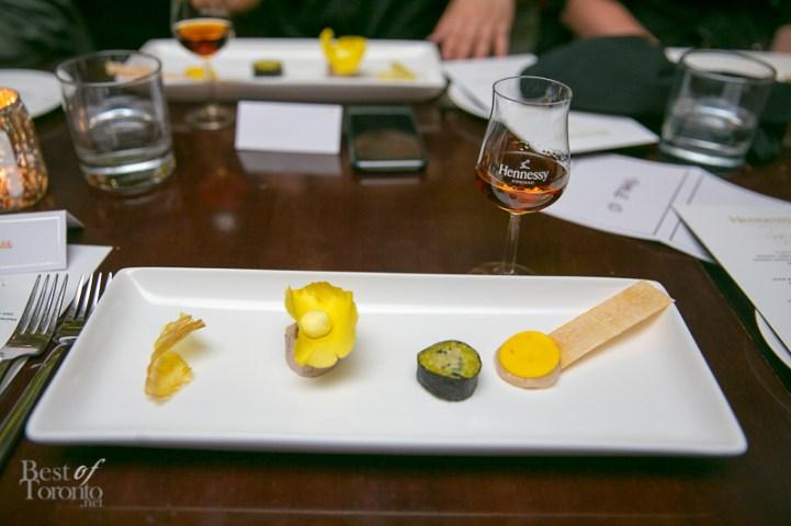 The Hennessy 250 Tasting Experience: The new Hennessy Limited Edition 250 Blend Saffron paired with Potato Crisp, Scallop and Saffron Cream, Crab and Saffron Maki, Saffron Poultry