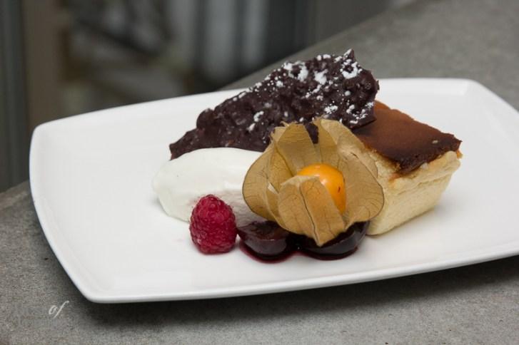 Chilled souffle cheesecake, boozie cherries, hazelnut bark