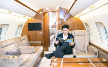 James Shay inside the private jet