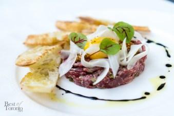 Truffle beef tartar | pickled fennel, brown mustard seed, egg yolk , capers, balsamic vinegar, olive oil
