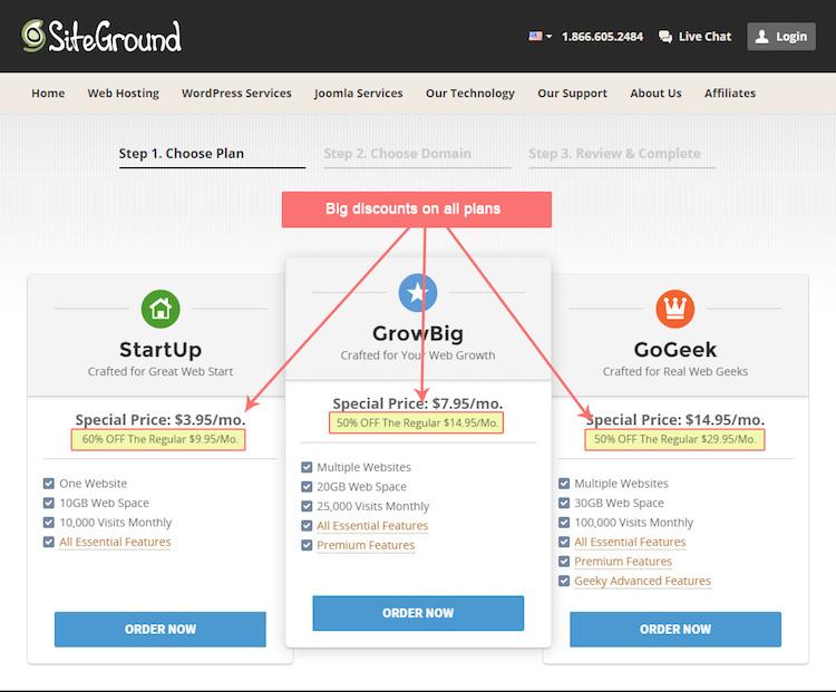 SiteGround Hosting Signup