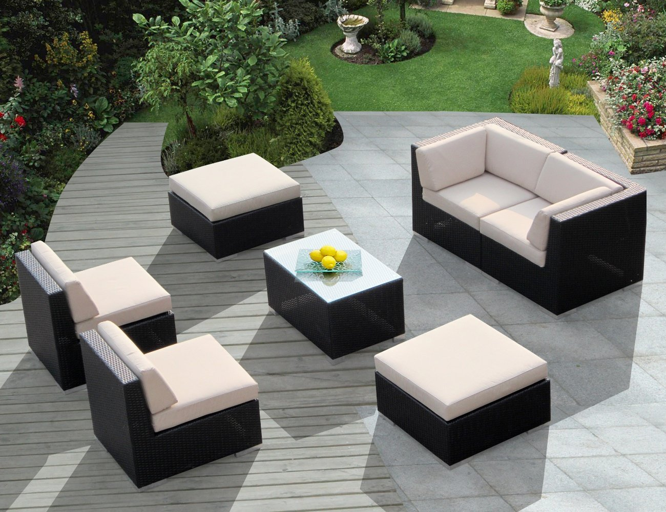 Genuine Ohana Outdoor Wicker Furniture Genuine 7 Piece Ohana Patio Furniture Wicker Couch Set With Beige Cushion