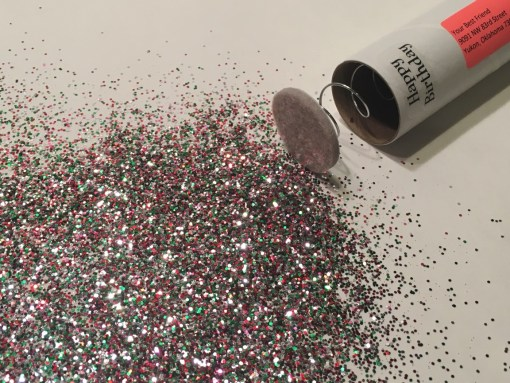 Happy Birthday spring-loaded glitter bomb