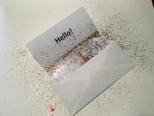 Middle finger prank in envelope with glitter.