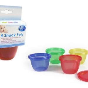 Reusable Snack Pots + Lids Set/4