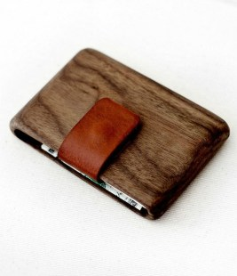 Wood Wallet with Leather Pull-Out Strap