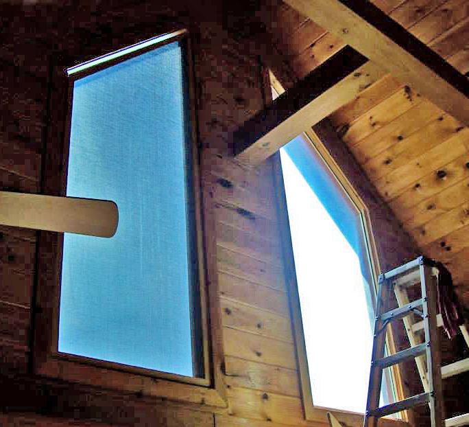 Before and after installation of removable solar shades