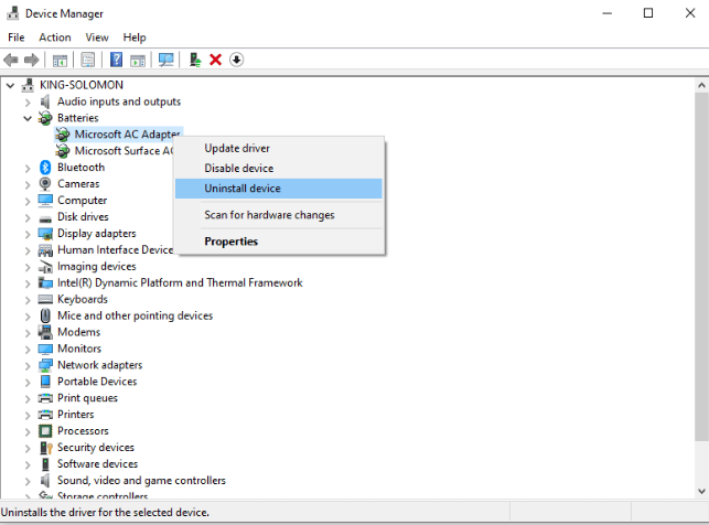 uninstall battery driver in device manager