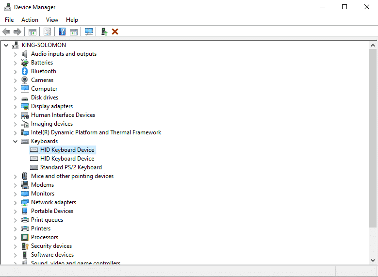 keyboard driver in device manager