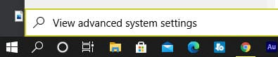 View advanced system settings in windows search