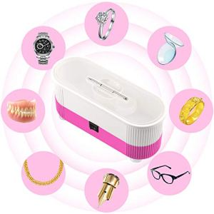 Ultrasonic Cleaner, Myriann Mini Cleaning Machine 300ml Tank for Jewelry Eyeglass Watches Business Commercial Home Use (Pink)