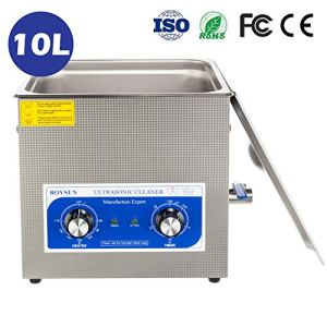 ROVSUN 10L Ultrasonic Cleaner, Knob Control Timer Heater Adjustable Stainless Steel Ultrasonic Cleaning Machine, for Jewelry Watches Dentures Glasses Metal Parts, 40KHz 110V US Plug