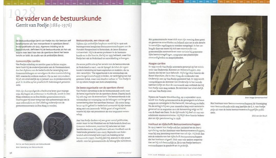 Een foto van de Penning voor de winnaars van de prijs en een beschrijving van van Poelje uit het boek 'Ambtenaren!