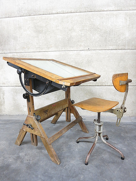 Industrial Steampunk Lighted Drafting Table Hamilton