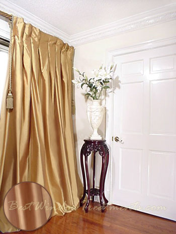 Thai Silk Pleated Draperies In Polished Gold