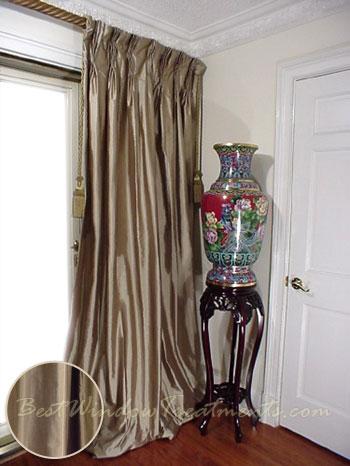 thai silk pleated draperies in taupe silk bestwindowtreatments com