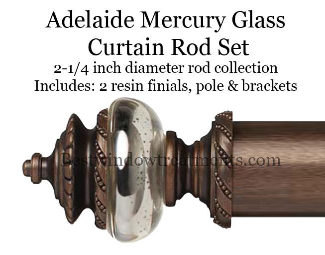 adelaide mercury glass 2 1 4 diameter custom curtain rod bestwindowtreatments com