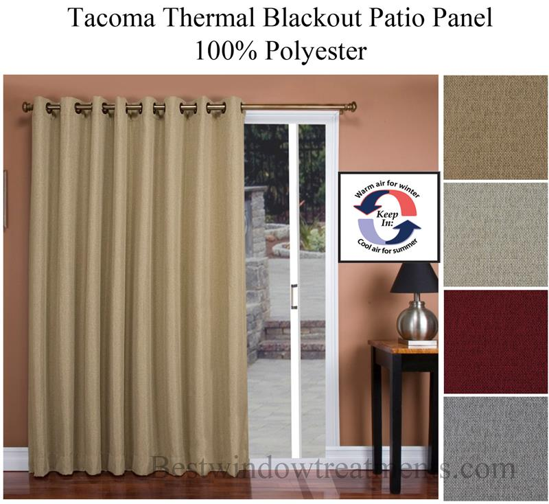tacoma thermal blackout patio width curtain panel in 4 colors bestwindowtreatments com