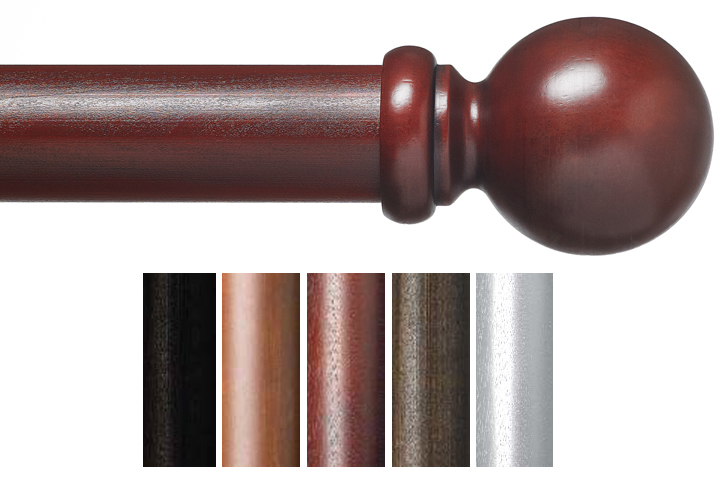 custom 2 plantation wood curtain rod in 5 finishes ball bestwindowtreatments com