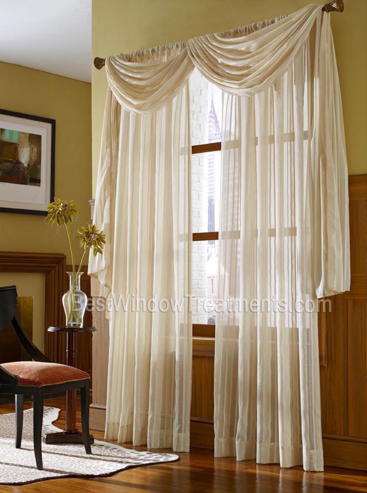 Leno Stripe Sheer Scarf Swag Curtain Top Treatment NFPA 701 Fire Retardant