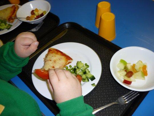 pizza, salad & fruit salad