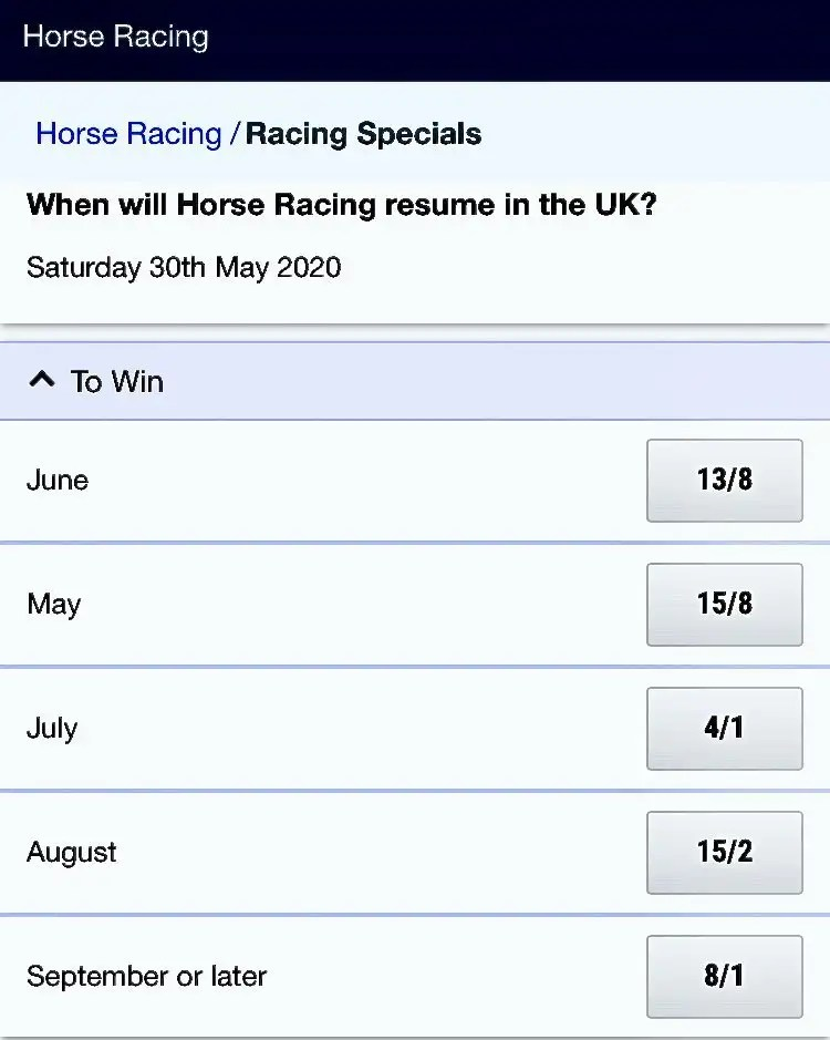 When will horse racing resume in the UK