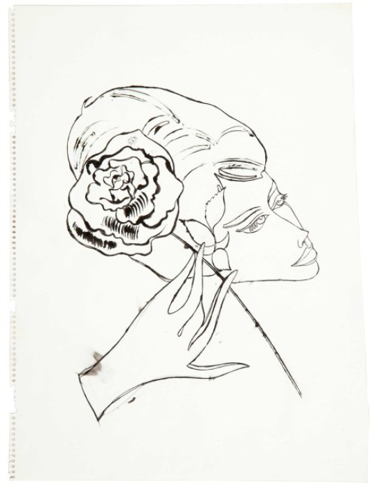 Andy Warhol, Female Head, Hand and Flower (1958)