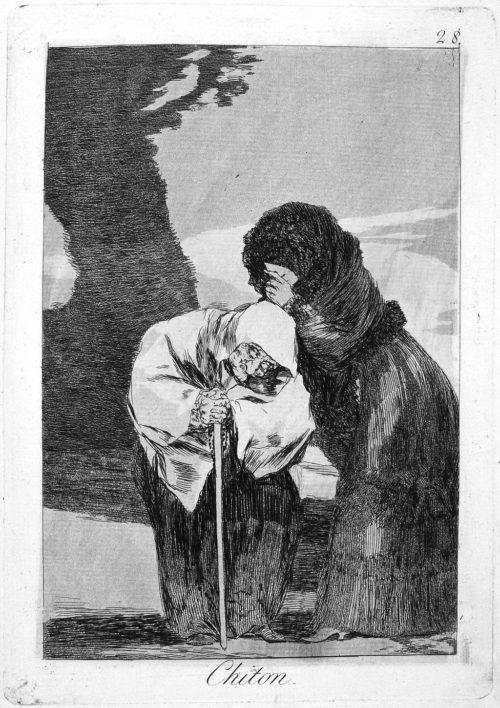 Francisco José de Goya y Lucientes, Hush, Plate 28 from Los Caprichios, 1797/99