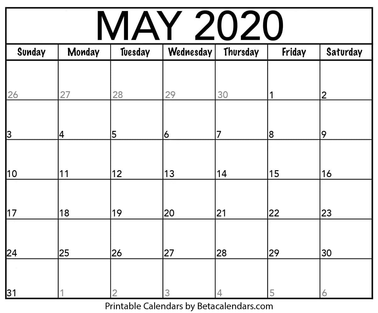 Blank May Calendar Printable