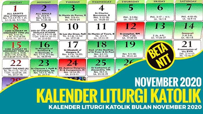 Kalender Liturgi Katolik Bulan November 2020