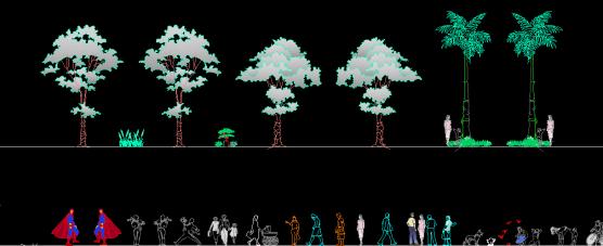 Download Gambar Drawing Bloks Aksesoris Pohon dan Manusia Format DWG AutoCAD