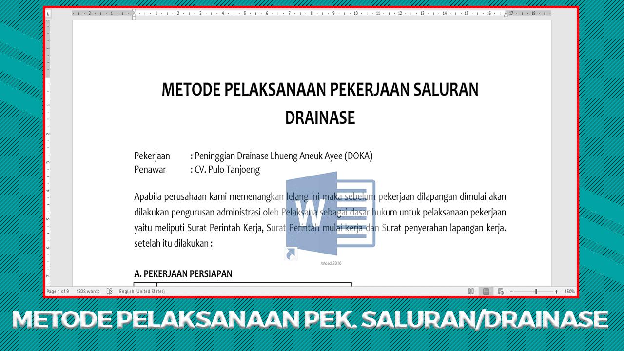 Metode Pelaksanaan Pekerjaan Saluran Drainase Beton