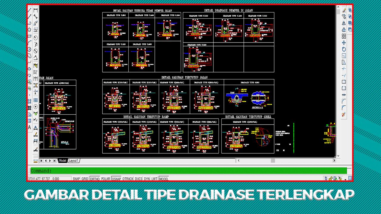 Gambar Detail Tipe Drainase File DWG AutoCad