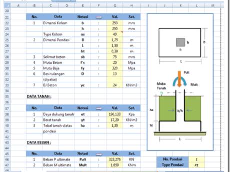 Download Perhitungan Pondasi Footplat Dan Tiang Pancang File Excel