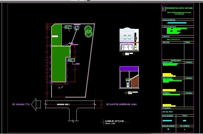 Gambar Ruko+Rumah Tinggal Format DWG AutoCAD