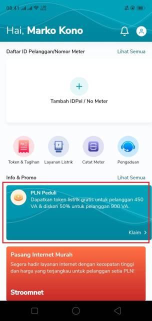 Cara Klaim Token Listrik Gratis Maret 2021 Melalui Aplikasi PLN Mobile