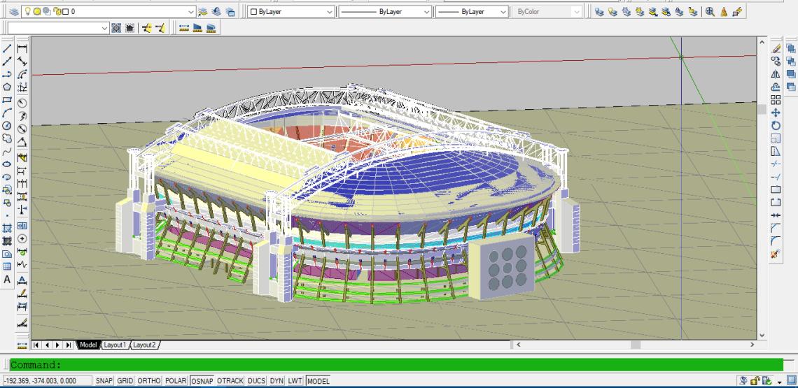 Download Gambar Stadion Sepak Bola 3D file DWG AutoCAD