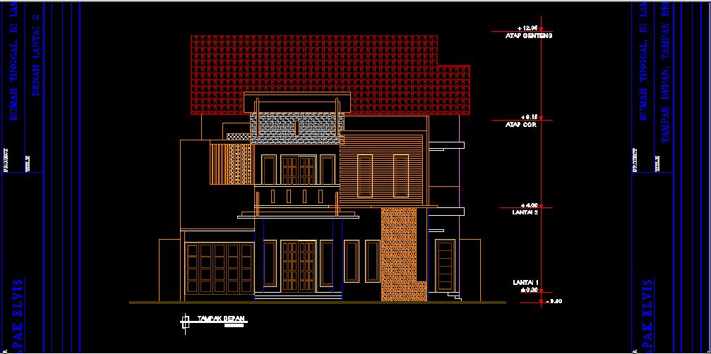 Download Desain Ruko 2 Lantai Minimalis DWG AutoCAD [LENGKAP]