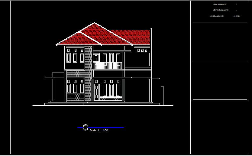 Download Gambar Rumah Mewah 2 Lantai Lengkap DWG AutoCAD