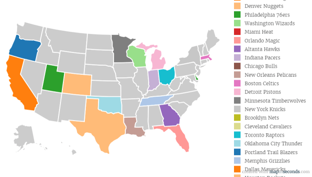 The Most Por NBA teams By States in America - Betensured Us Map Nba Teams on