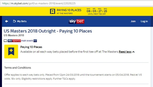 Skybet 10 Each-Way Places