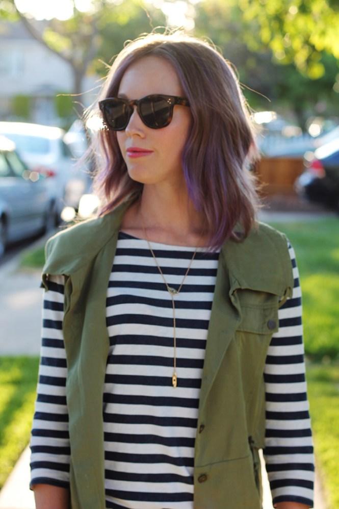 mavi jeans, stiped shirt, military vest, celine sunglasses, casual outfit ideas, purple hair, YSL lips