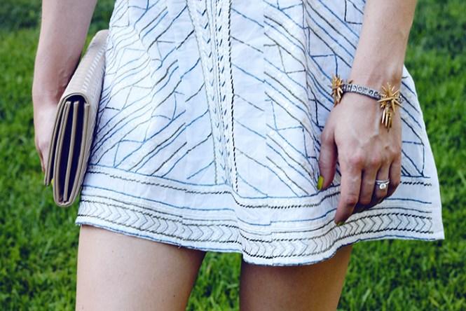 white dress, eshakti, summer dress, j.crew bracelet, spike bracelet